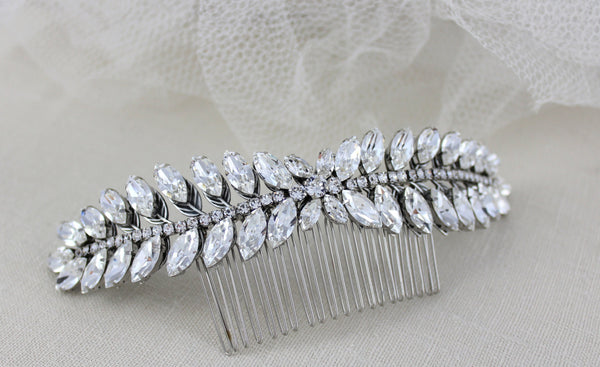 Swarovski Crystal Leaf Wedding headpiece - VIRGINIA - Treasures by Agnes