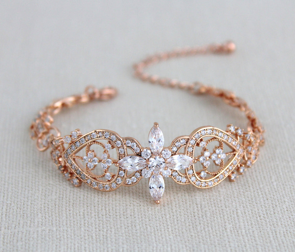 Rose gold Bridal bracelet, Cuff bracelet, Cubic zirconia wedding jewelry - Treasures by Agnes