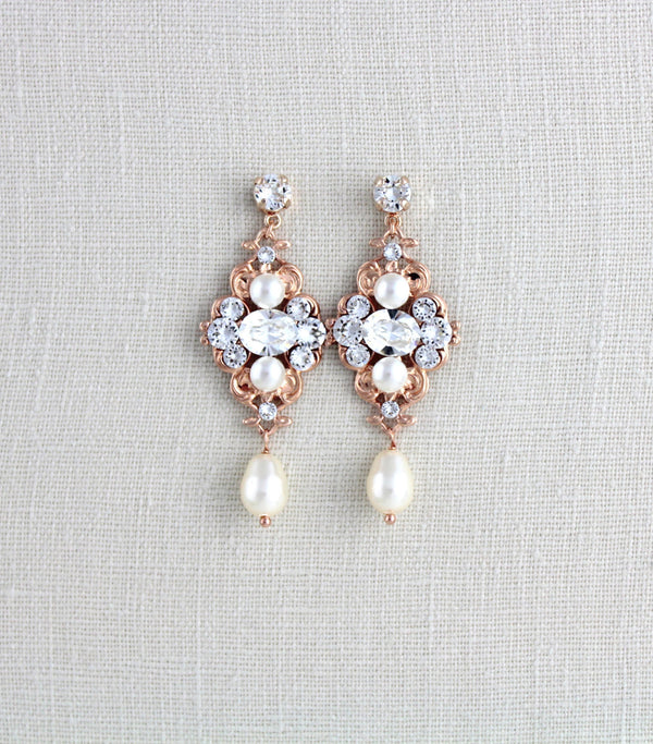 Vintage style Wedding earrings with Swarovski crystals - ASHLYN - Treasures by Agnes