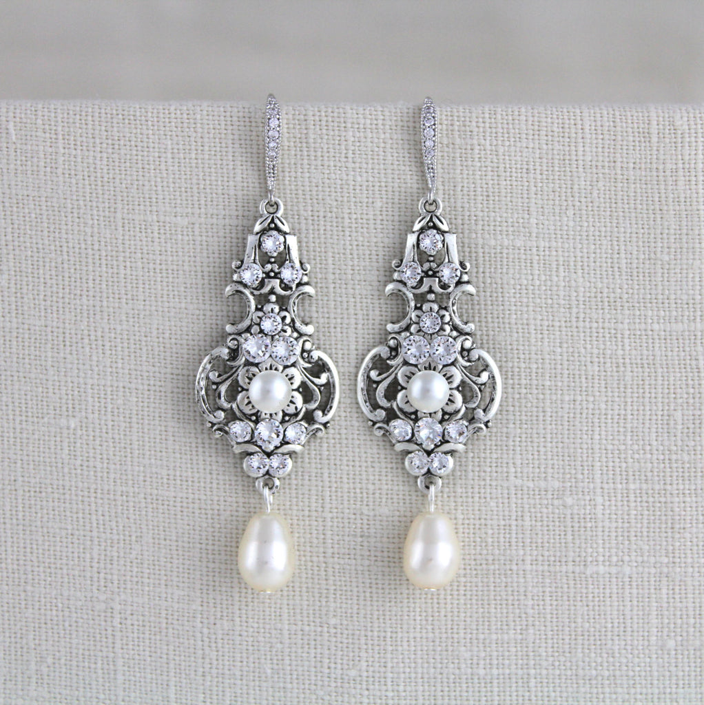 Vintage inspired antique silver Swarovski earrings for Bride - Treasures by Agnes