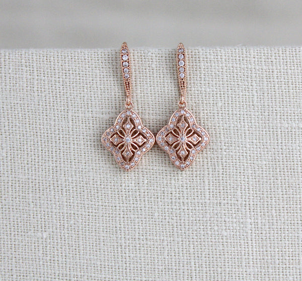 Simple Rose gold drop bridal or bridesmaid earrings - ADDIA - Treasures by Agnes
