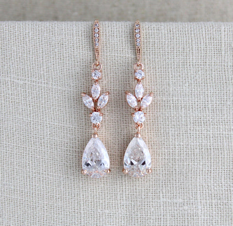 Rose gold CZ bridal earrings - Treasures by Agnes