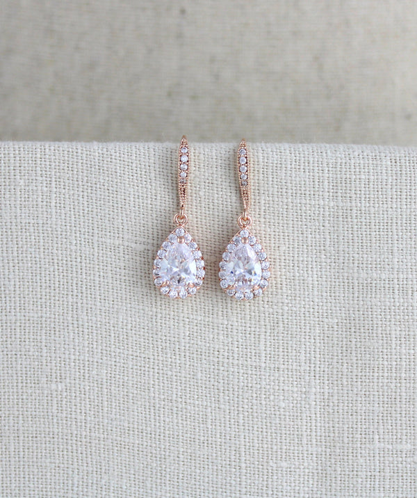 Simple rose gold crystal drop bridal earrings - NORAH - Treasures by Agnes