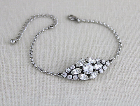 Swarovski crystal Bridal bangle bracelet - Treasures by Agnes