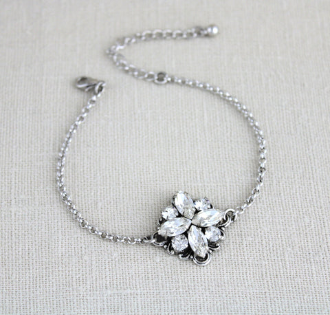 Simple Crystal Bridal or Bridesmaid bracelet - Treasures by Agnes