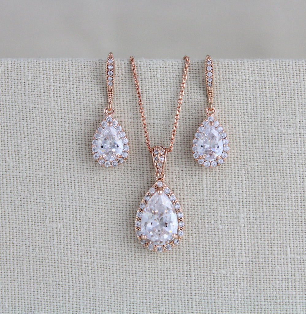 Rose gold cubic zirconia Bridal or Bridesmaid jewelry set - NORAH - Treasures by Agnes