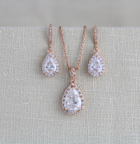 Rose gold Bridal jewelry set