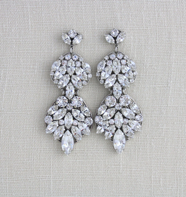 Large Couture Wedding earrings with Swarovski crystals - ANGELINA - Treasures by Agnes