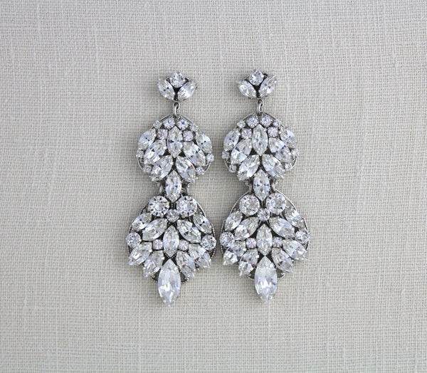 Large statement earrings for Bride, Swarovski crystal Wedding jewelry, Chandelier earrings - Treasures by Agnes