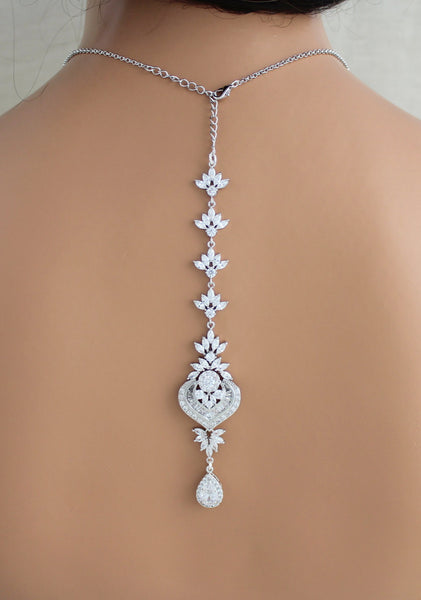 Bridal Backdrop necklace Crystal Wedding necklace Bridal jewelry for Bride