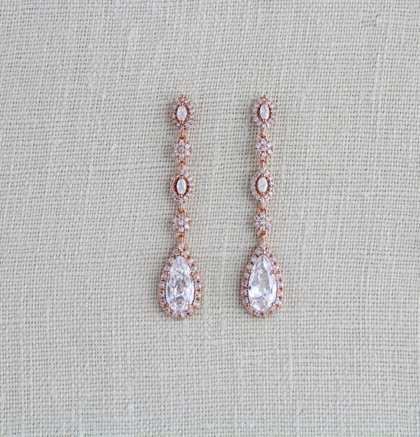 Long Rose gold teardrop Bridal earrings - BIJOU - Treasures by Agnes