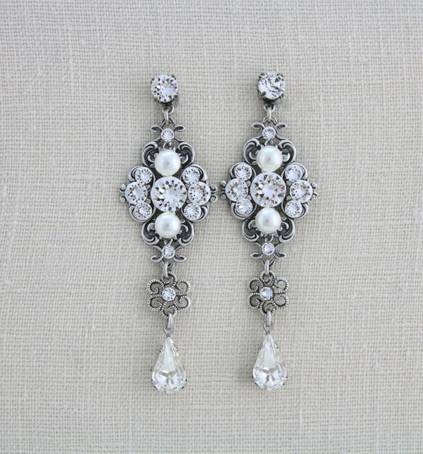 Vintage style Statement Swarovski Crystal bridal earrings - ASHLYN - Treasures by Agnes
