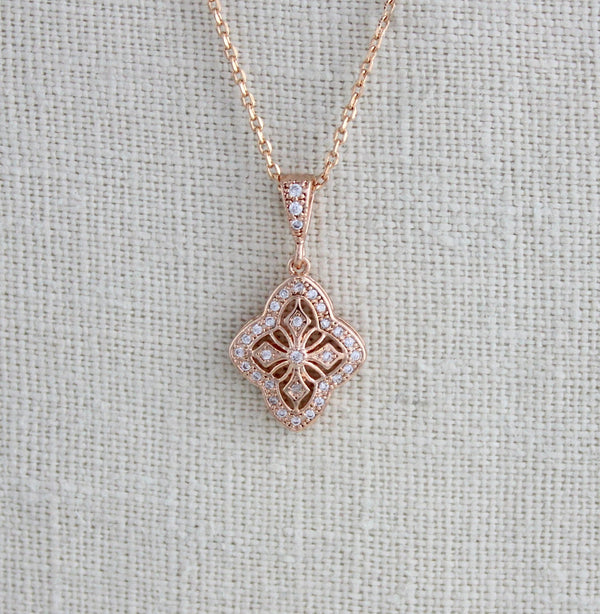 Delicate rose gold bridal pendant necklace - ADDIA - Treasures by Agnes