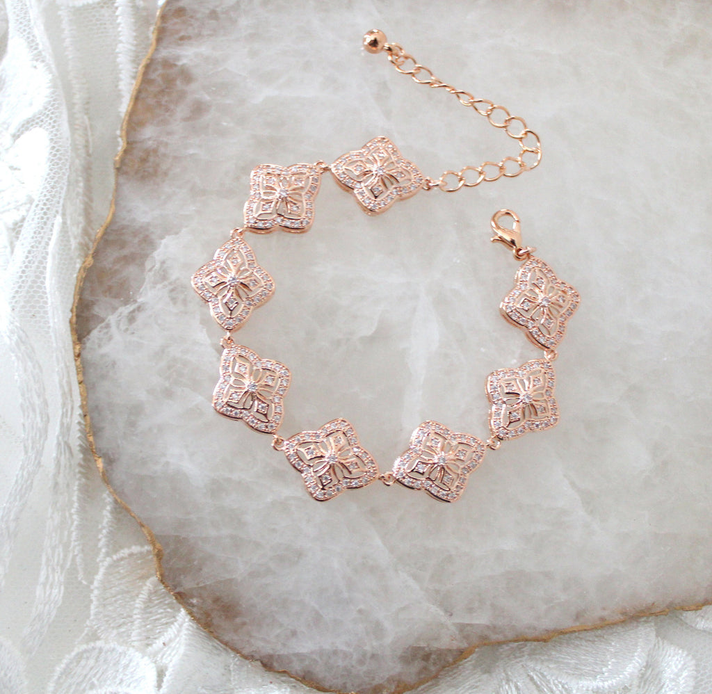 Rose gold cubic zirconia Wedding bracelet - ADDIA - Treasures by Agnes
