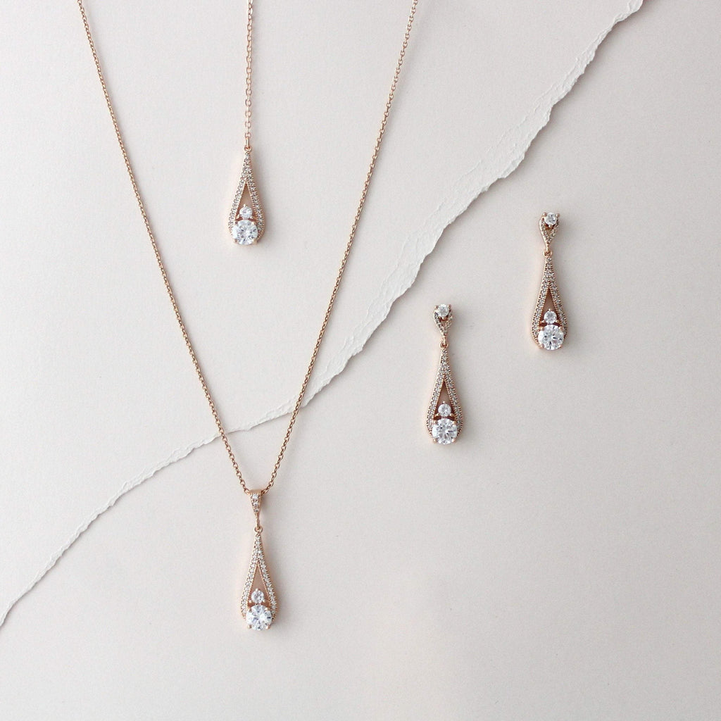 Delicate Rose gold Backdrop necklace and earring set - PRISCILLA - Treasures by Agnes