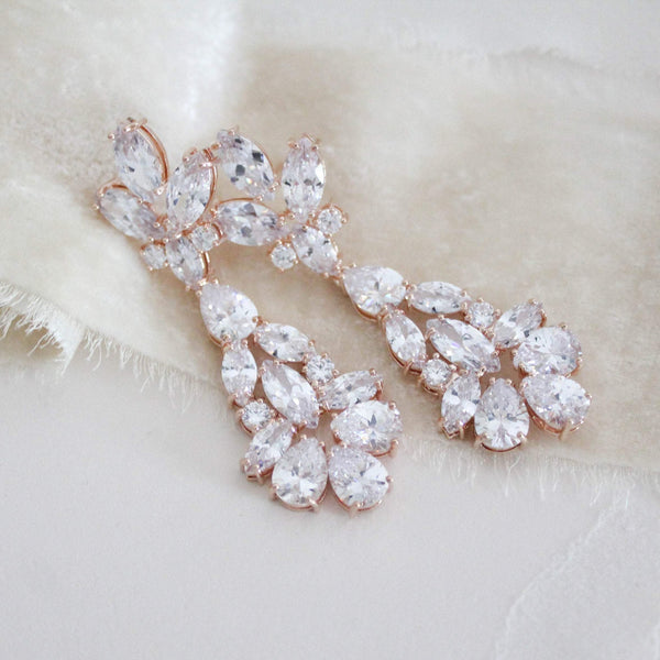 Rose gold cubic zirconia Bridal chandelier earrings - DIVINE - Treasures by Agnes