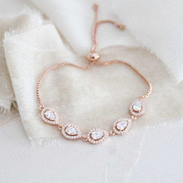 Rose gold adjustable slide bracelet with cubic zirconia stones - EVERLY - Treasures by Agnes