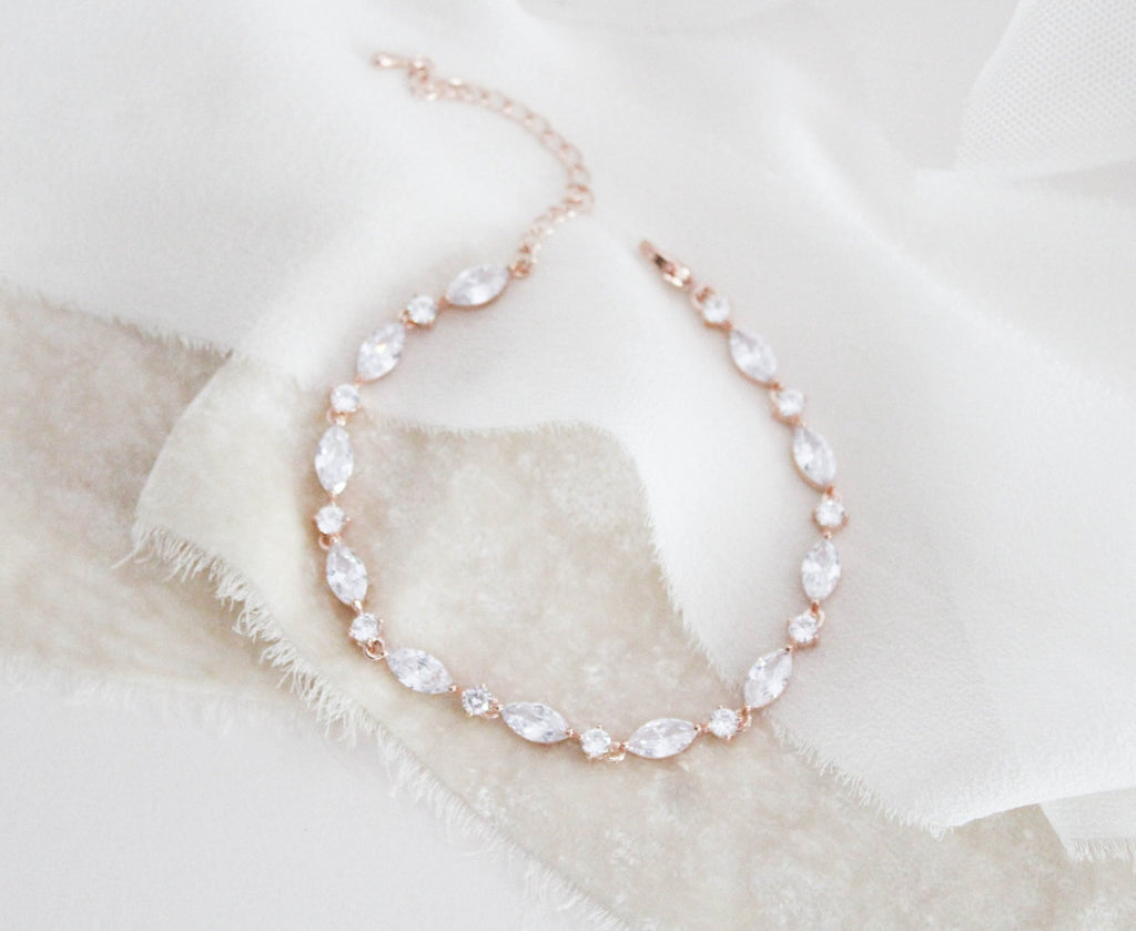 Dainty Rose gold cubic zirconia bridal bracelet - LIV - Treasures by Agnes