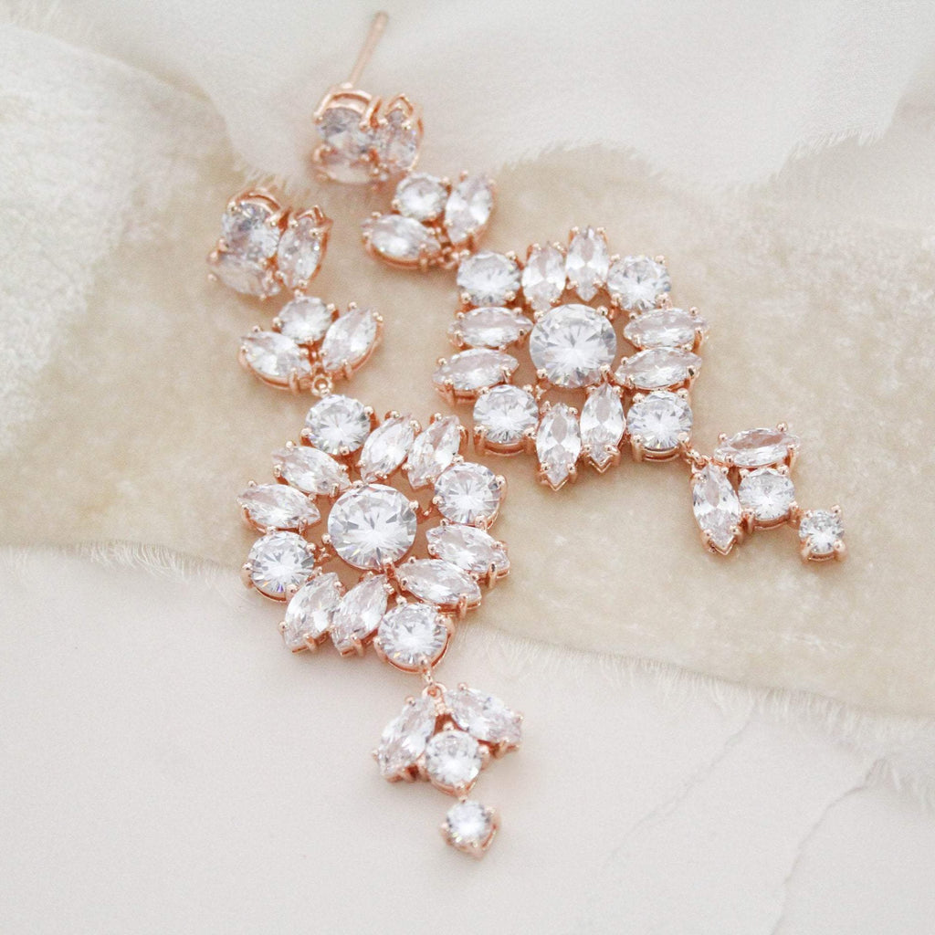Long Rose gold Statement Bridal earrings - CHARLI - Treasures by Agnes