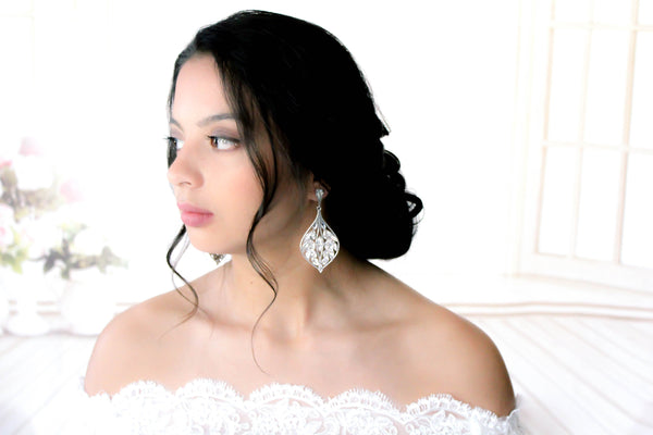 Large Swarovski crystal Chandelier earrings for Bride - LAYLAH - Treasures by Agnes