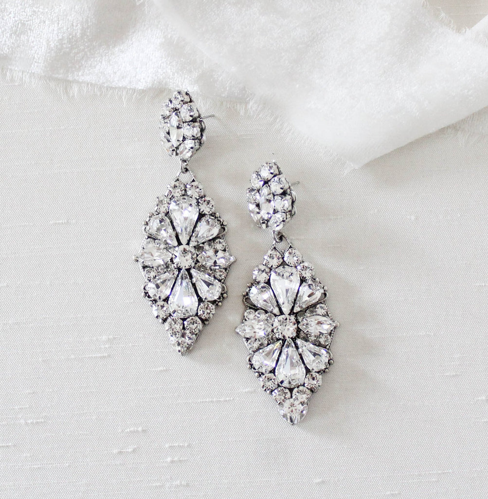 Vintage style Swarovski Crystal Bridal Statement earrings Special occasion jewelry - HANNAH - Treasures by Agnes