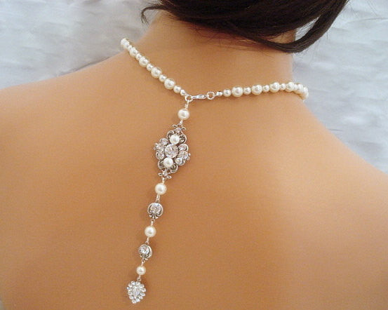 Pearl Bridal Backdrop necklace with Swarovski Crystals - Treasures by Agnes