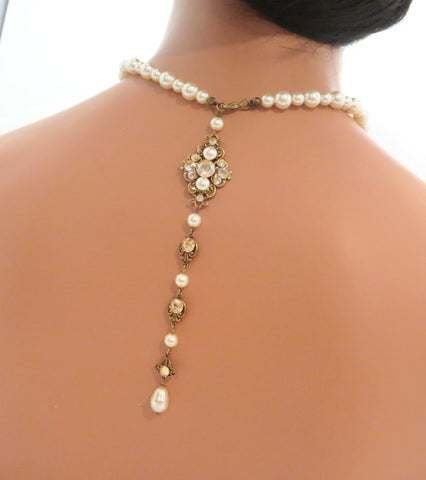 Bridal Backdrop necklace Wedding back necklace Vintage style Pearl necklace Swarovski crystals - Treasures by Agnes