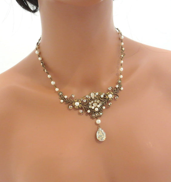 Antique gold Wedding necklace with Swarovski Crystals