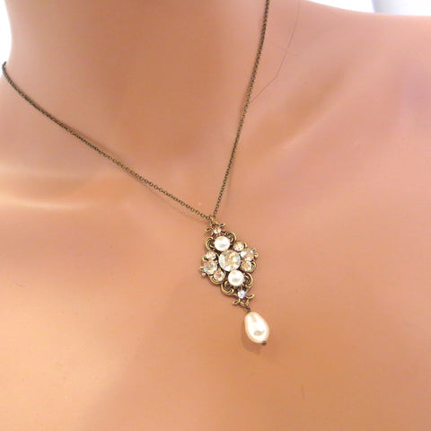 Swarovski crystal pendant necklace with golden crystals and cream pearls