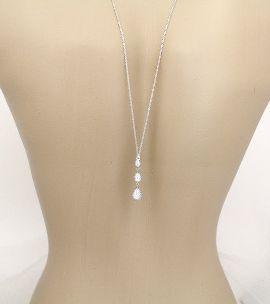 Simple Bridal Backdrop necklace created with Sterling silver - Treasures by Agnes