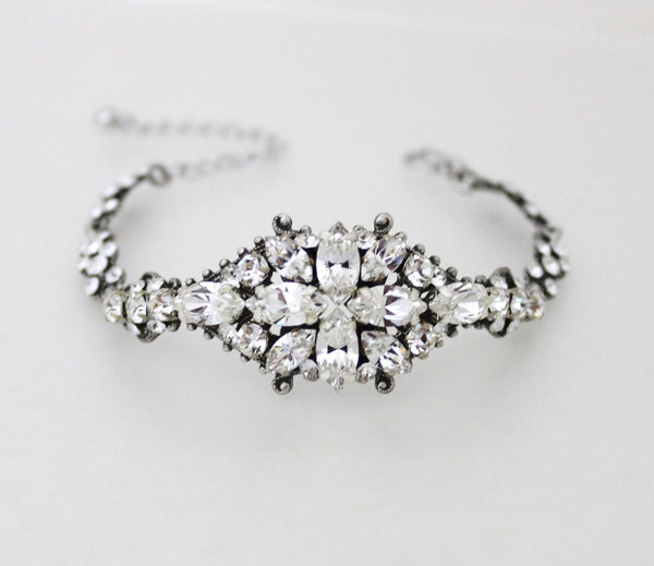 Swarovski Crystal Art Deco Bridal bracelet - CHELSEA - Treasures by Agnes