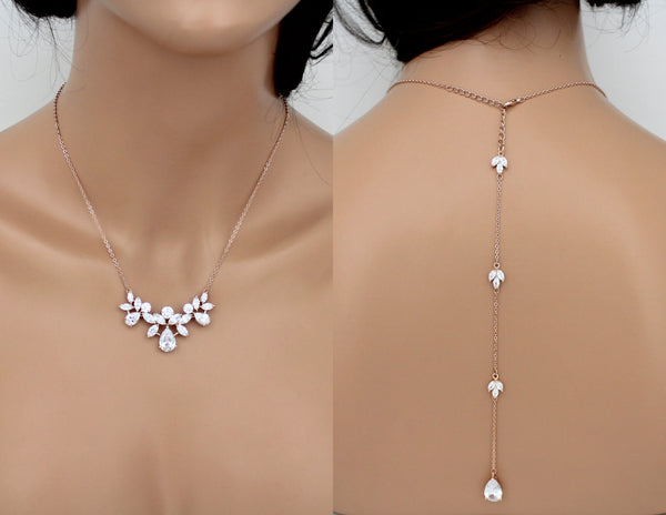 Rose gold Crystal Bridal Backdrop necklace set - Treasures by Agnes