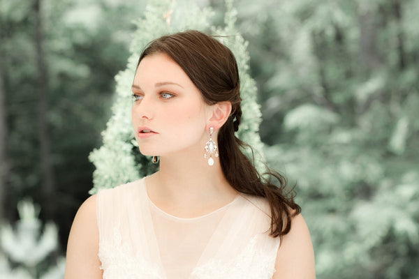 Swarovski Crystal bridal chandelier earrings - Treasures by Agnes