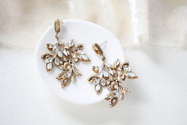 Antique gold Swarovski Crystal wedding earrings - Treasures by Agnes