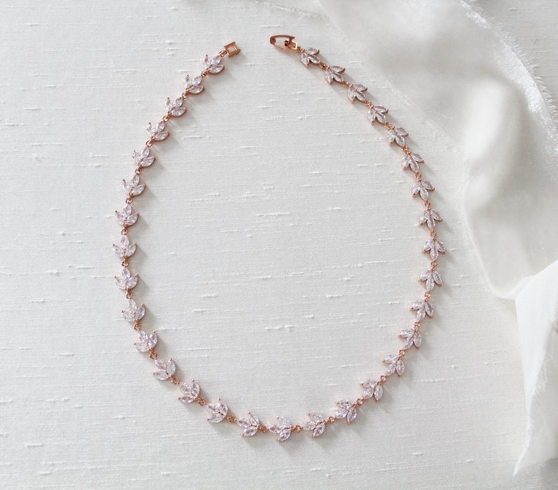 Delicate rose gold cubic zirconia bridal necklace - LAUREN - Treasures by Agnes