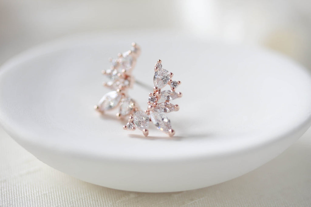Rose gold cubic zirconia stud earrings - Treasures by Agnes