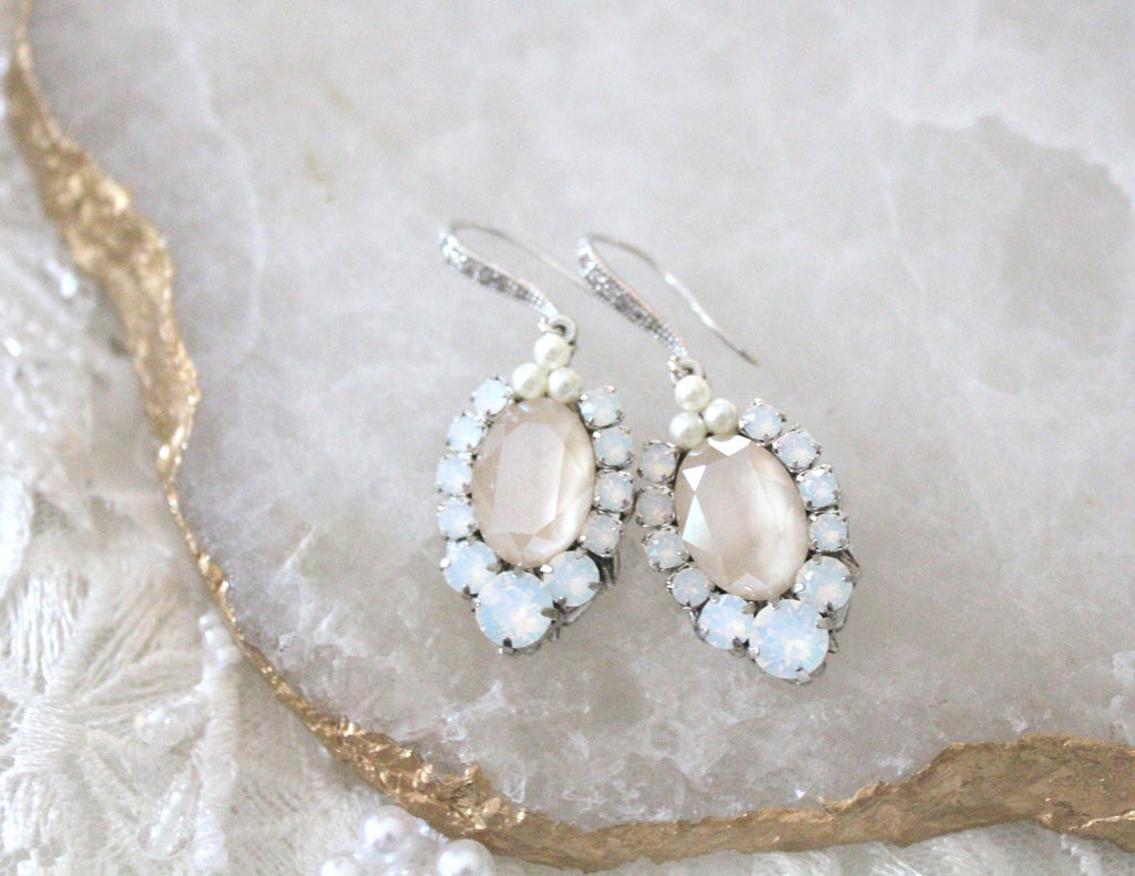 Ivory cream and white opal Swarovski crystal bridal earrings - Treasures by Agnes