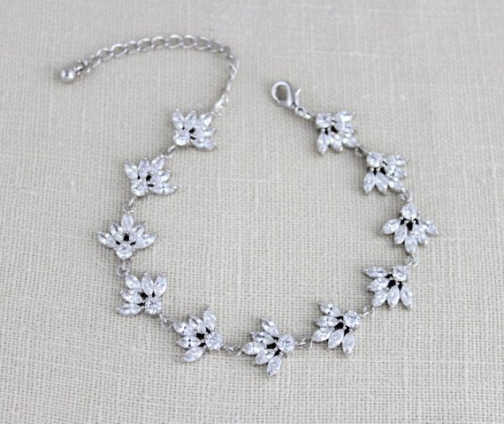 Cubic zirconia clustered leaf Bridal bracelet, EMMA - Treasures by Agnes