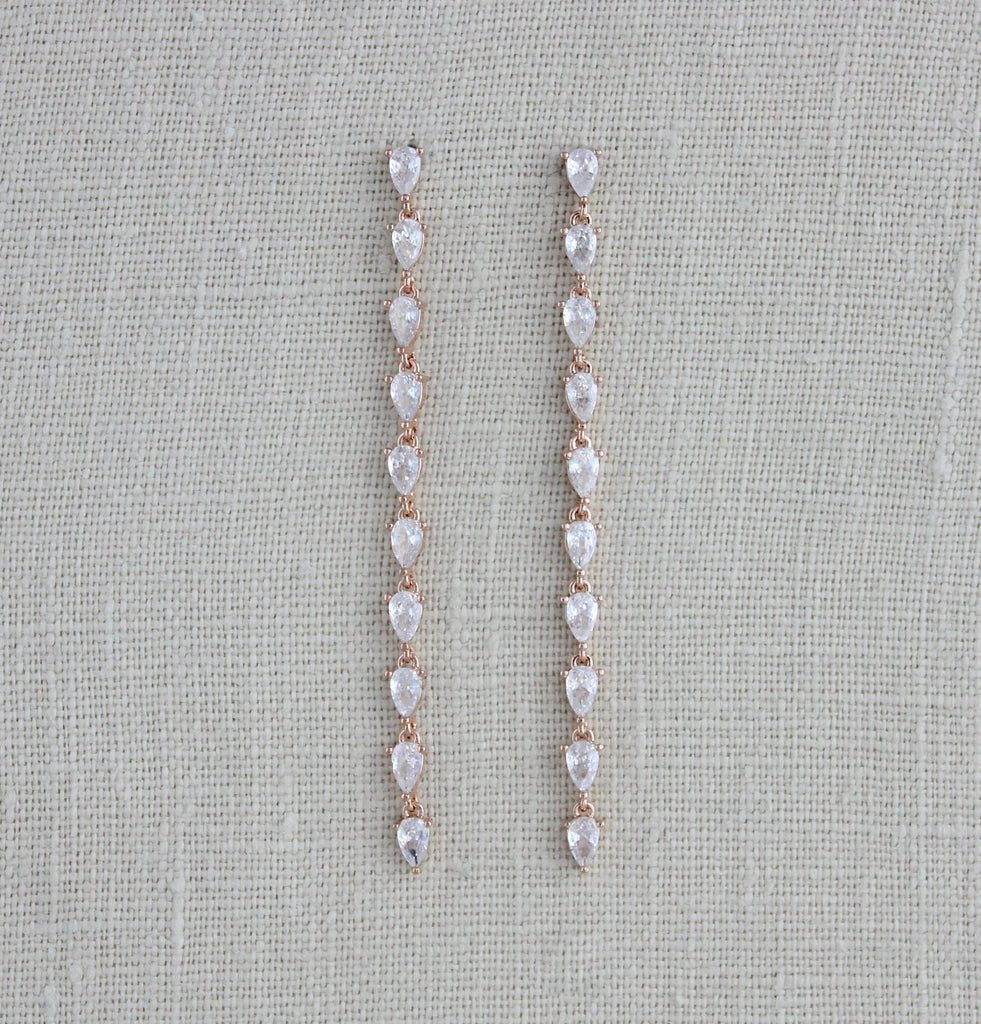 Long Rose gold Cubic Zirconia minimalist earrings - Treasures by Agnes