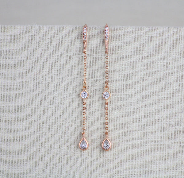 Long Dainty Rose gold CZ earrings - Treasures by Agnes