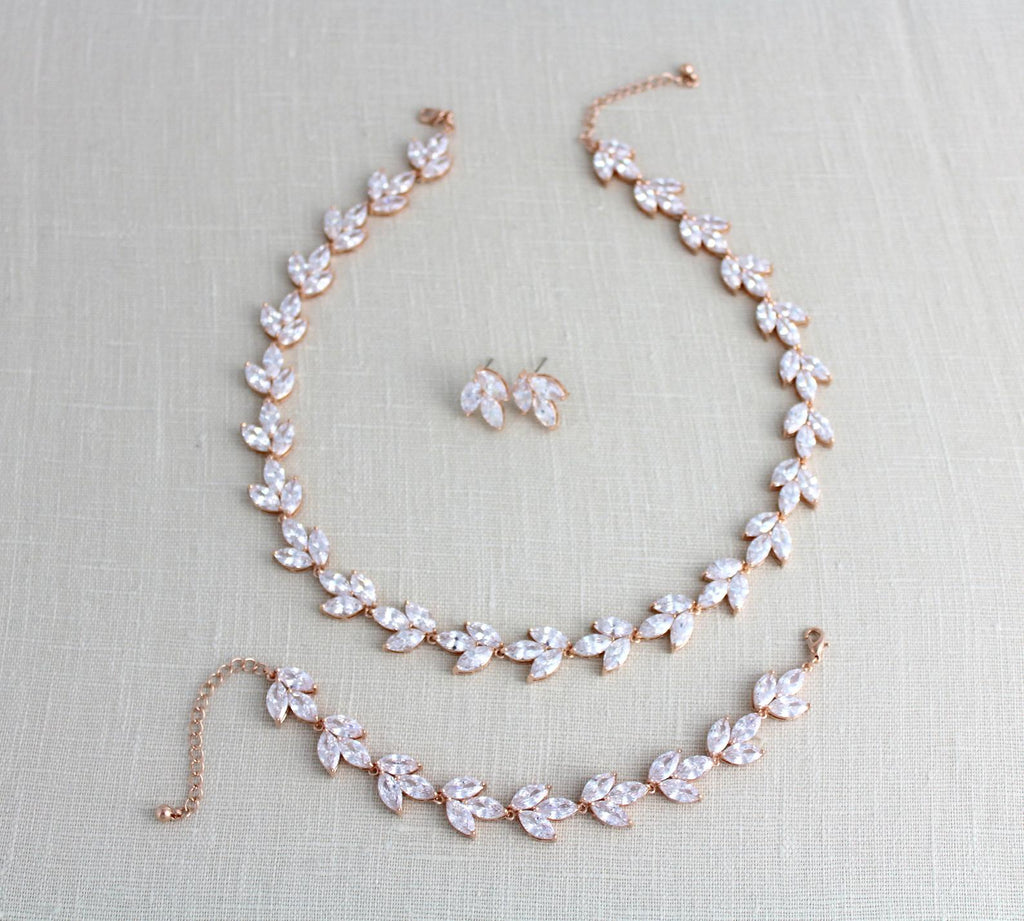 Rose gold Cubic zirconia Bridal jewelry set - Treasures by Agnes