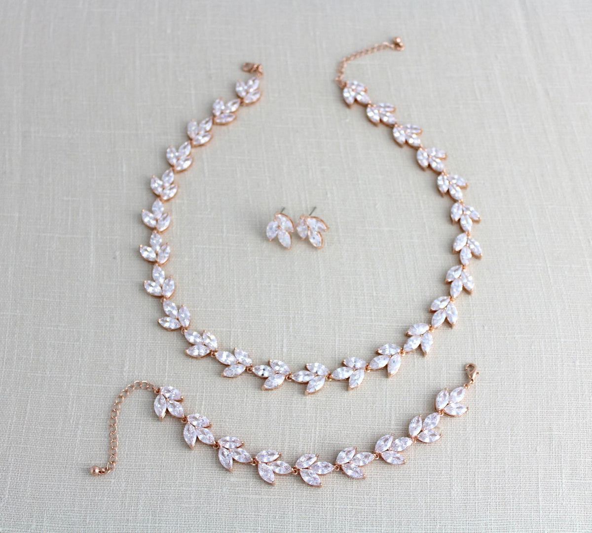 Rose Gold Cubic Zirconia Bridal Jewelry Set Katie Treasures By
