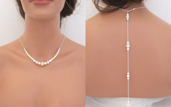 Swarovski pearl and crystal bridal back necklace - Treasures by Agnes