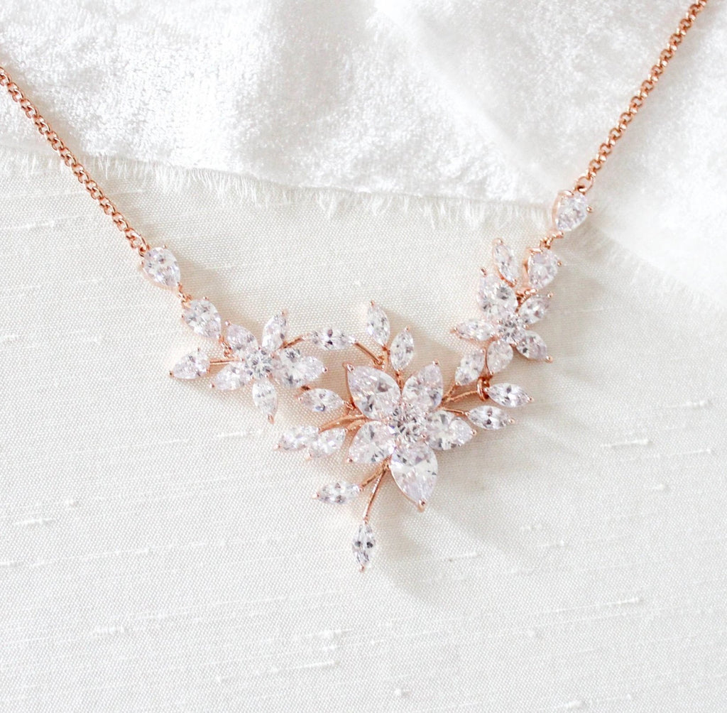 Rose gold cubic zirconia floral Bridal necklace - LILY - Treasures by Agnes