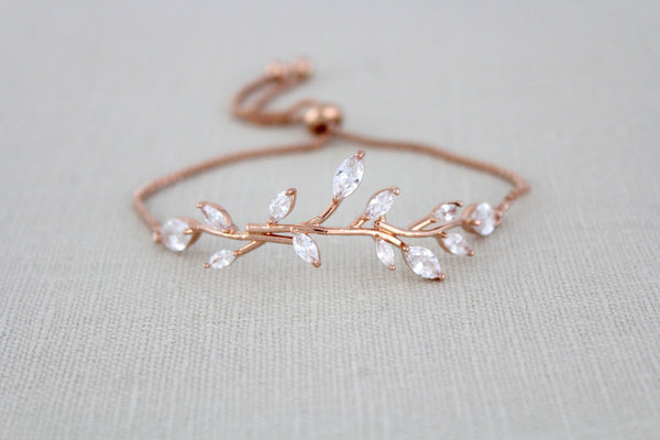 Delicate Rose gold Adjustable CZ Bridal bracelet - treasures by agnes