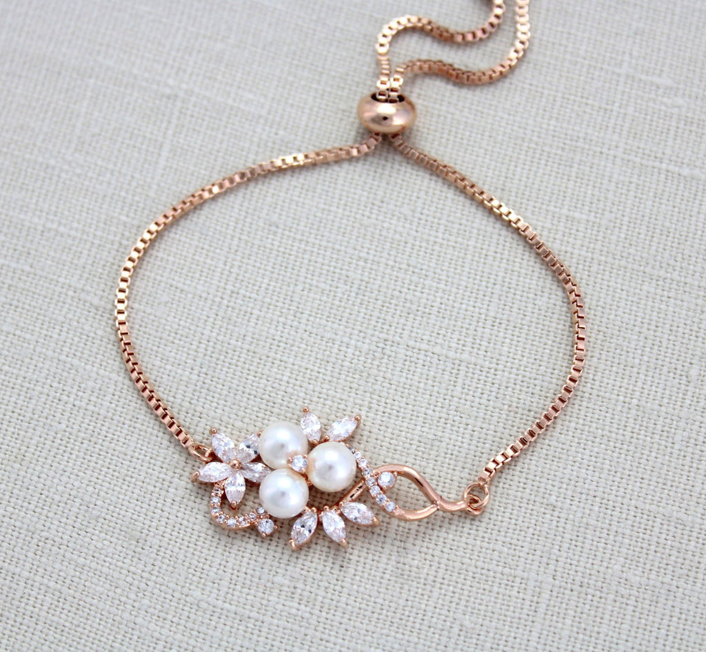 Rose gold bridal bracelet, Simple adjustable slide bracelet MIA - Treasures by Agnes
