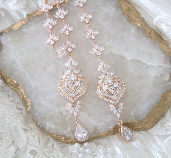 Bridal Backdrop necklace Crystal Wedding jewelry - EMMA - Treasures by Agnes