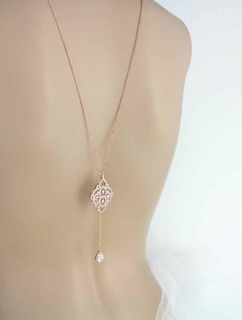 Simple Rose gold Bridal Backdrop necklace - EMILY - Treasures by Agnes