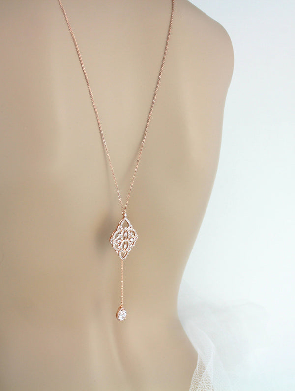 Simple Rose gold Bridal Backdrop necklace EMILY - Treasures by Agnes