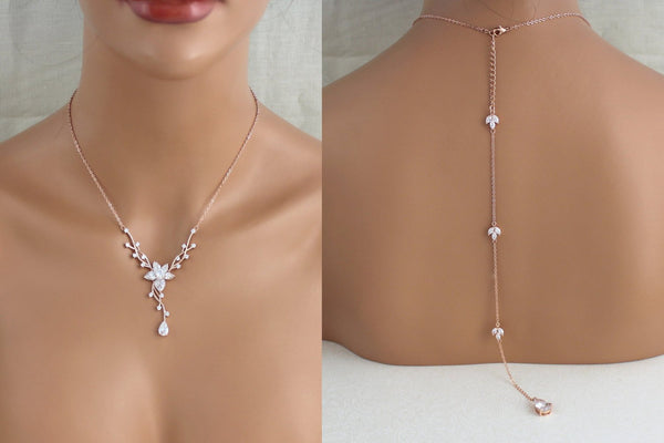 Delicate Rose gold bridal backdrop necklace and earring set - LILY - Treasures by Agnes